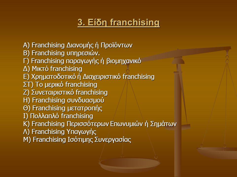 3. Είδη franchising Α) Franchising Διανομής ή Προϊόντων