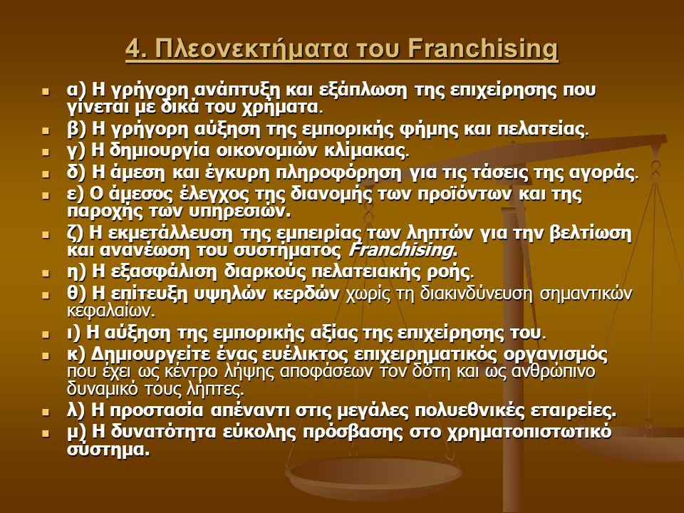 4. Πλεονεκτήματα του Franchising