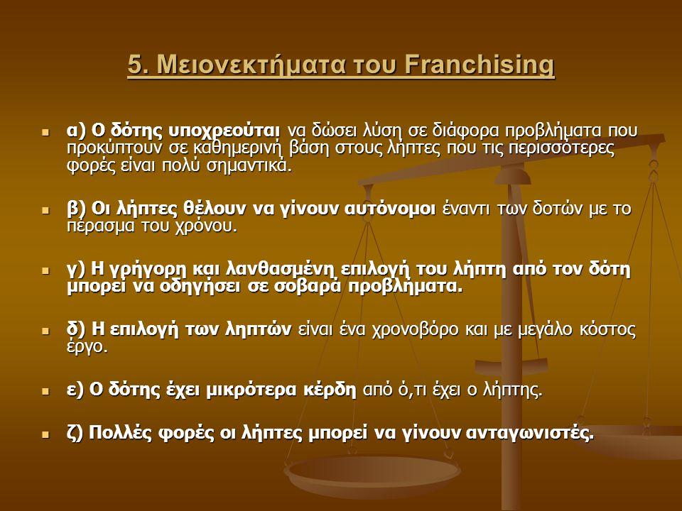 5. Μειονεκτήματα του Franchising