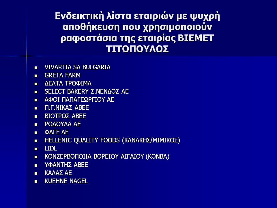 Ενδεικτική λίστα εταιριών με ψυχρή αποθήκευση που χρησιμοποιούν ραφοστάσια της εταιρίας ΒΙΕΜΕΤ ΤΙΤΟΠΟΥΛΟΣ