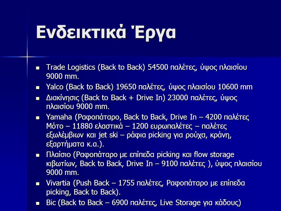 Ενδεικτικά Έργα Trade Logistics (Back to Back) 54500 παλέτες, ύψος πλαισίου 9000 mm. Yalco (Back to Back) 19650 παλέτες, ύψος πλαισίου 10600 mm.