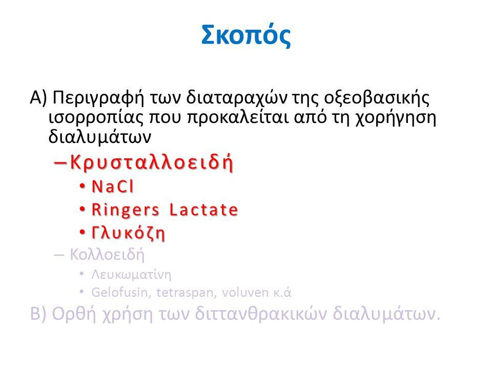 Σκοπός Α) Περιγραφή των διαταραχών της οξεοβασικής ισορροπίας που προκαλείται από τη χορήγηση διαλυμάτων.