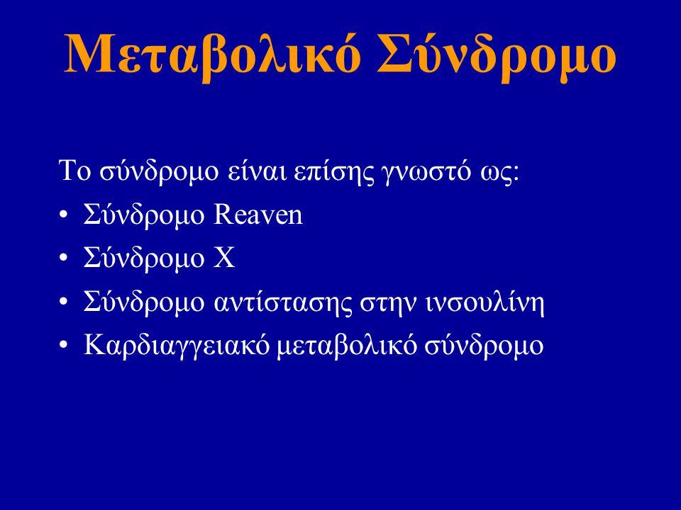 Μεταβολικό Σύνδρομο Το σύνδρομο είναι επίσης γνωστό ως: