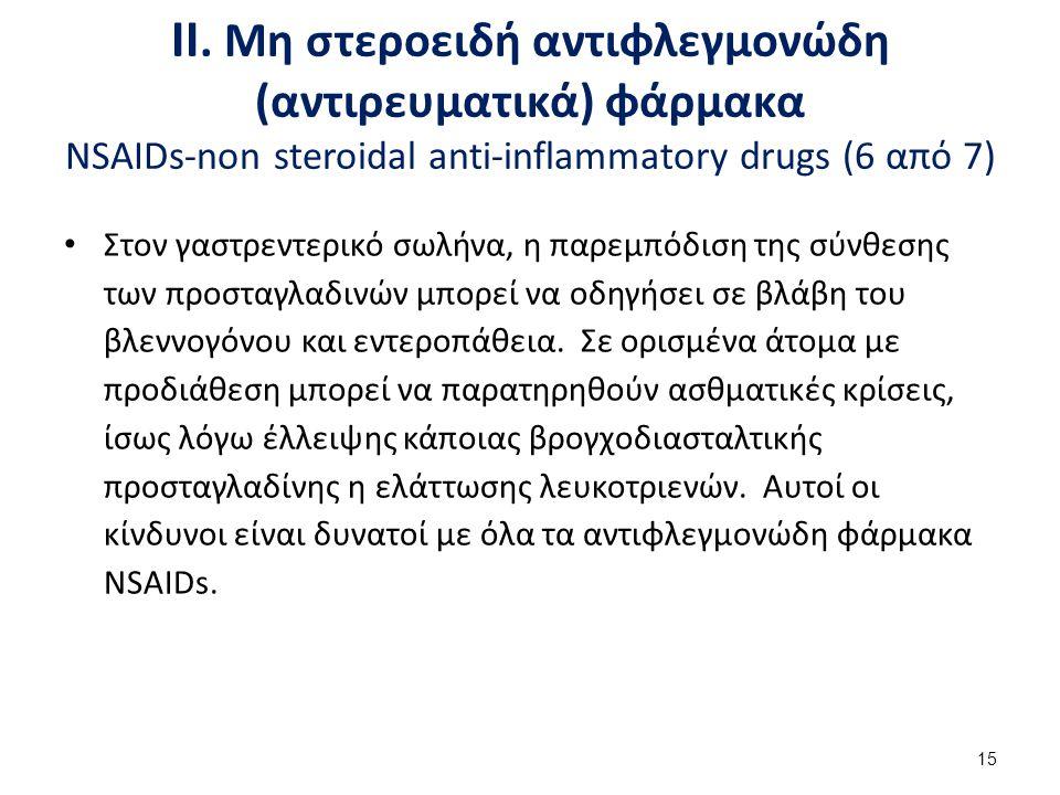 ΙΙ. Μη στεροειδή αντιφλεγμονώδη (αντιρευματικά) φάρμακα NSAIDs-non steroidal anti-inflammatory drugs (7 από 7)