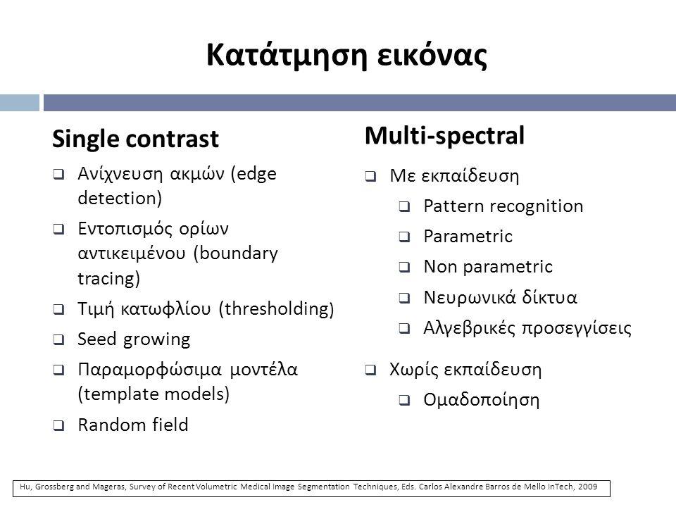 Κατάτμηση εικόνας Multi-spectral Single contrast Με εκπαίδευση