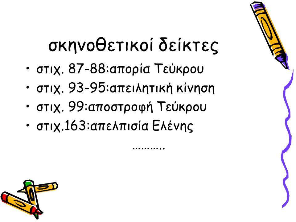 σκηνοθετικοί δείκτες στιχ. 87-88:απορία Τεύκρου