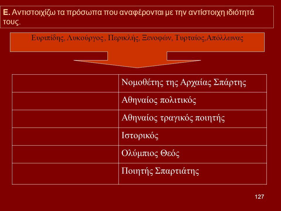 Ευριπίδης, Λυκούργος , Περικλής, Ξενοφών, Τυρταίος,Απόλλωνας
