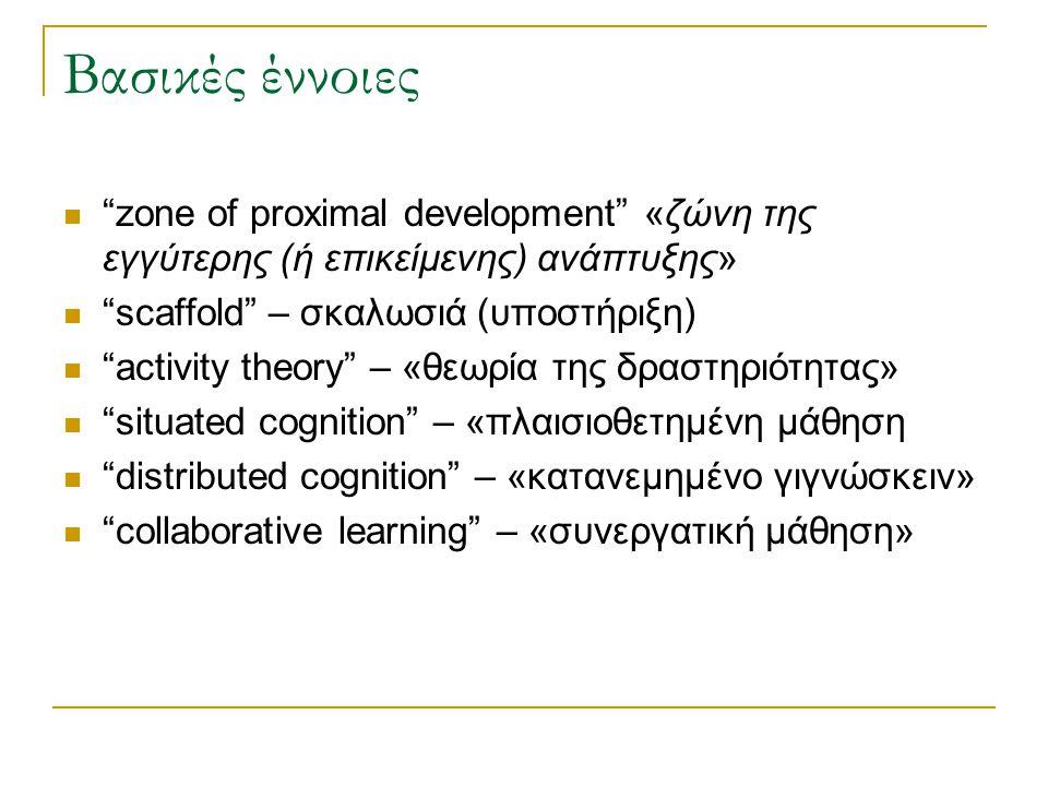 Βασικές έννοιες zone of proximal development «ζώνη της εγγύτερης (ή επικείμενης) ανάπτυξης» scaffold – σκαλωσιά (υποστήριξη)