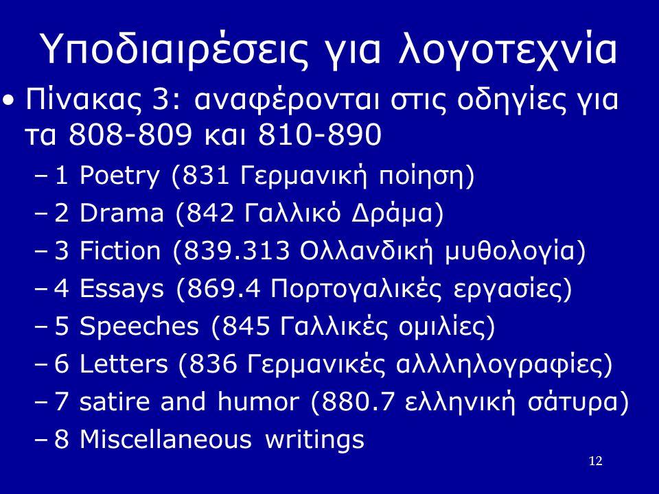 Υποδιαιρέσεις για λογοτεχνία