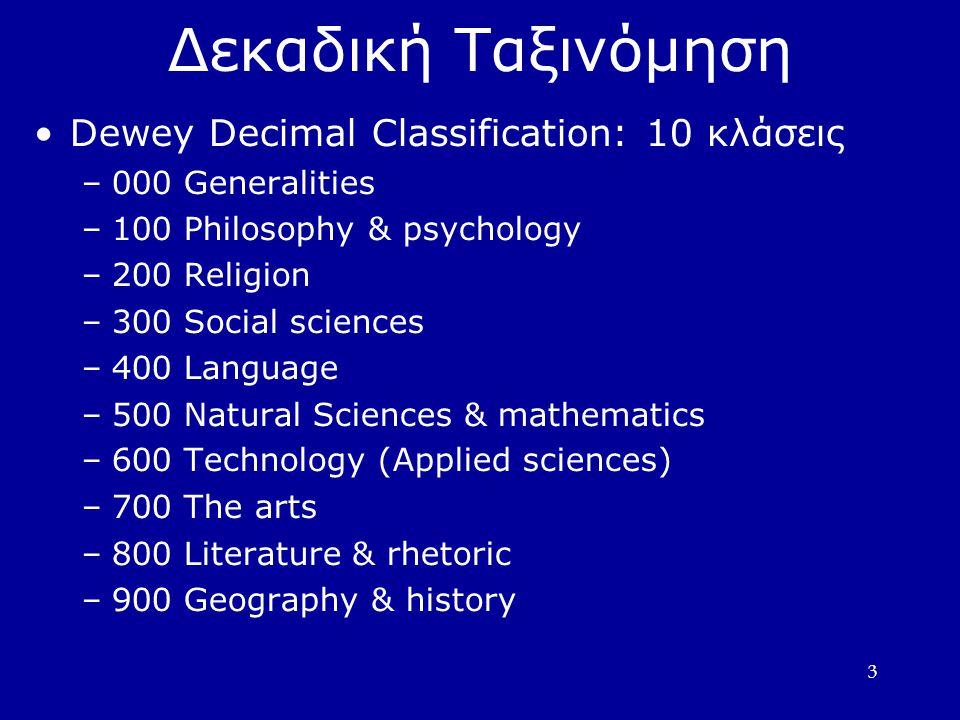 Δεκαδική Ταξινόμηση Dewey Decimal Classification: 10 κλάσεις