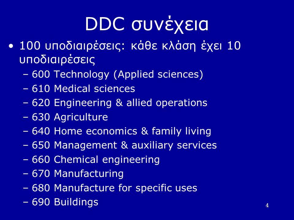 DDC συνέχεια 100 υποδιαιρέσεις: κάθε κλάση έχει 10 υποδιαιρέσεις