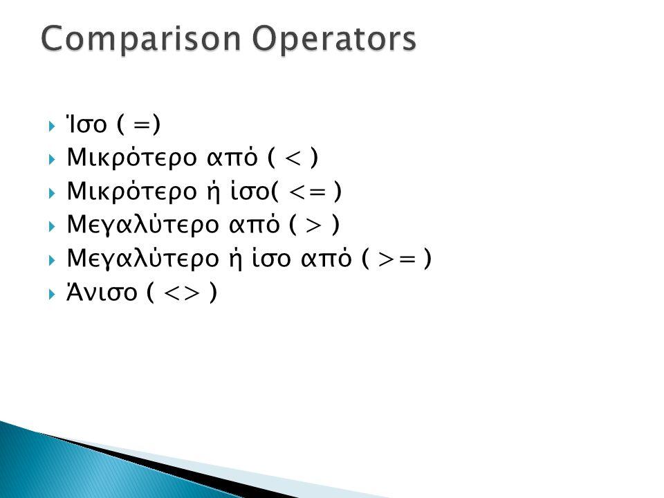 Comparison Operators Ίσο ( =) Μικρότερο από ( < )