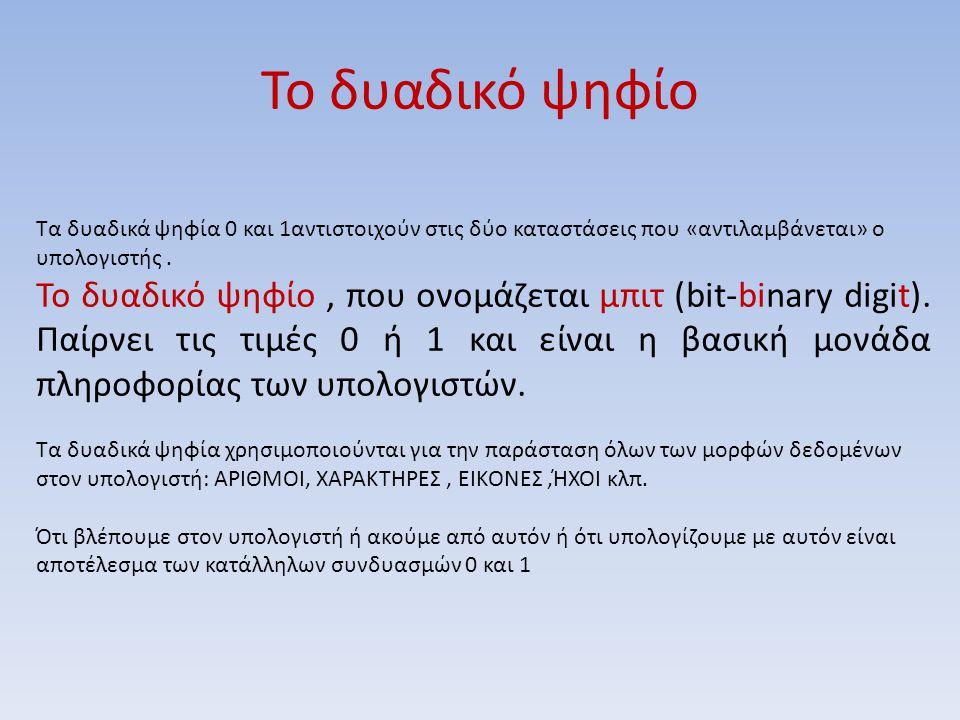 Το δυαδικό ψηφίο Τα δυαδικά ψηφία 0 και 1αντιστοιχούν στις δύο καταστάσεις που «αντιλαμβάνεται» ο υπολογιστής .