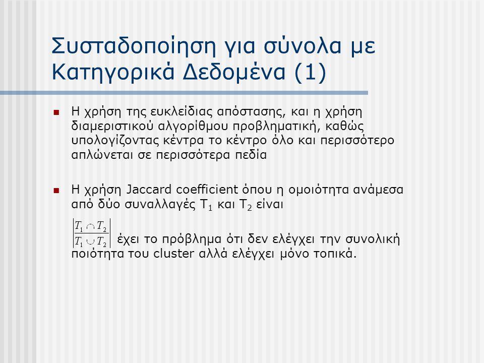 Συσταδοποίηση για σύνολα με Κατηγορικά Δεδομένα (1)