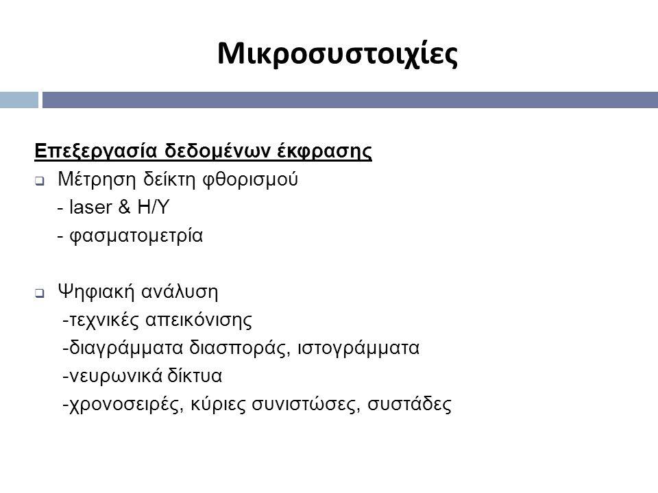 Μικροσυστοιχίες Επεξεργασία δεδομένων έκφρασης