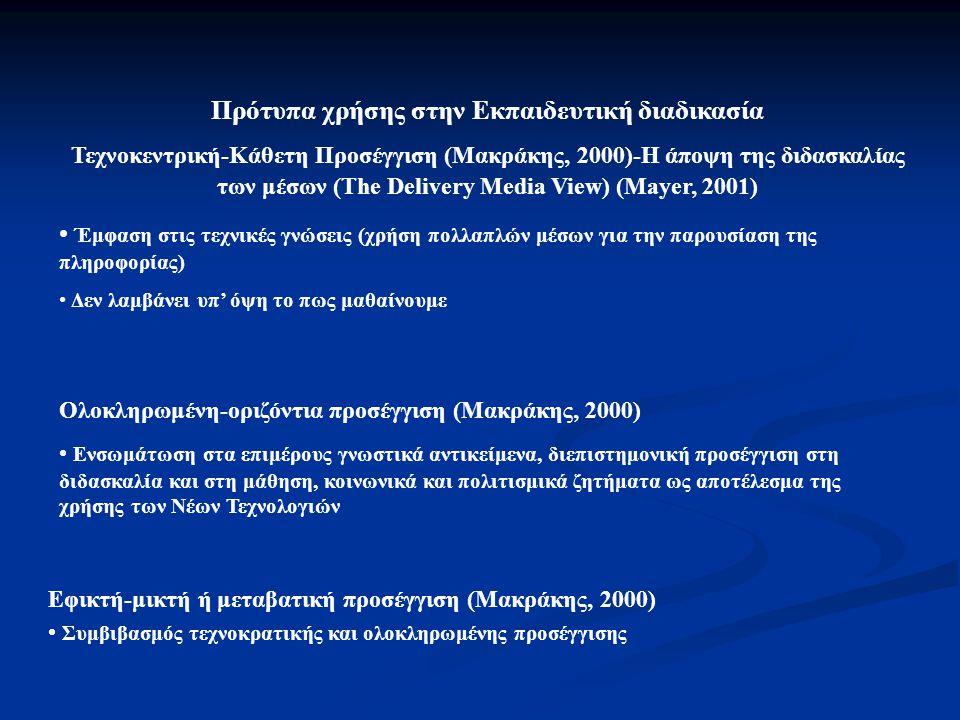 Πρότυπα χρήσης στην Εκπαιδευτική διαδικασία
