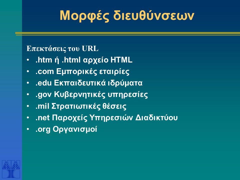 Μορφές διευθύνσεων Επεκτάσεις του URL .htm ή .html αρχείο HTML