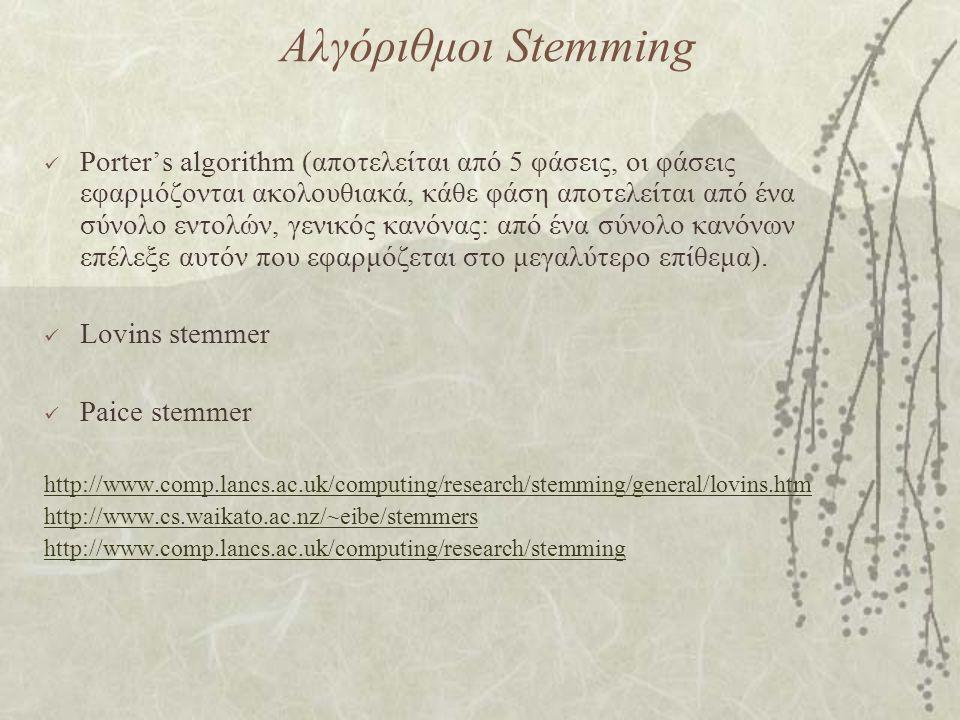 Αλγόριθμοι Stemming