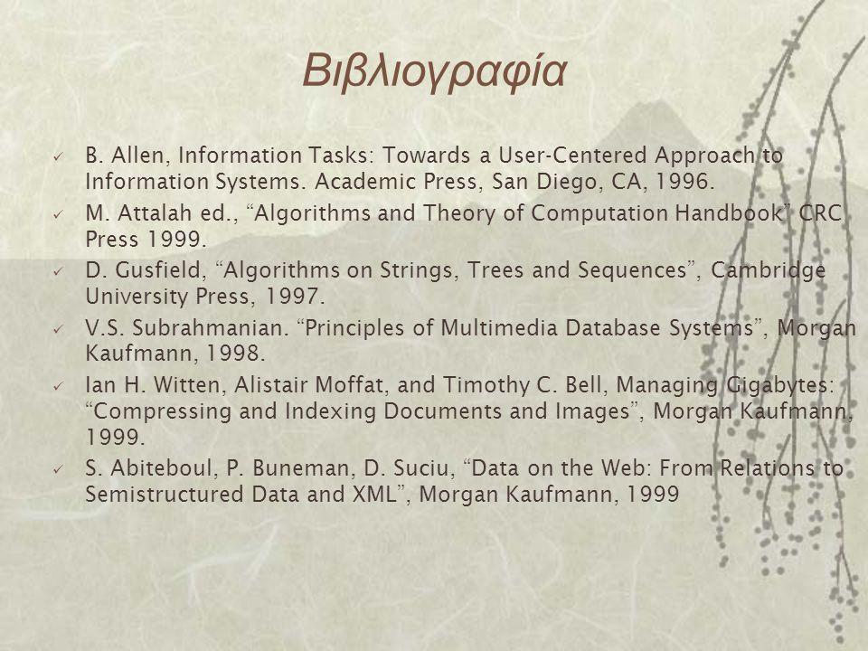 Βιβλιογραφία B. Allen, Information Tasks: Towards a User-Centered Approach to Information Systems. Academic Press, San Diego, CA, 1996.