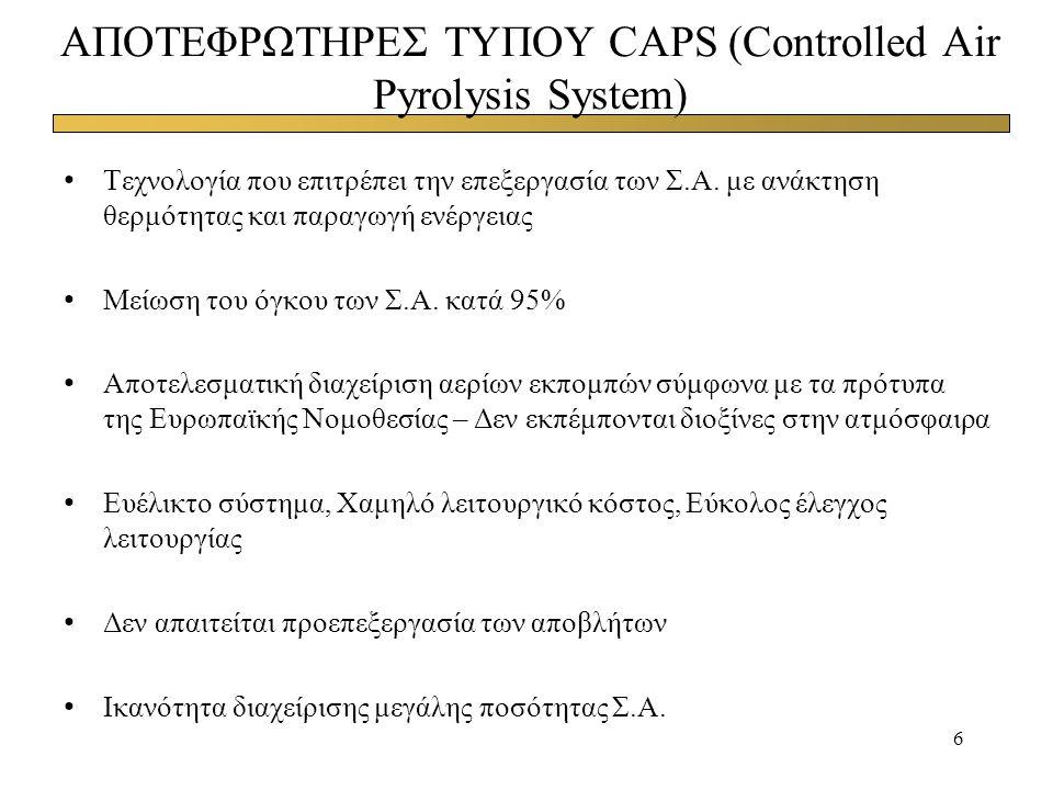 ΑΠΟΤΕΦΡΩΤΗΡΕΣ ΤΥΠΟΥ CAPS (Controlled Air Pyrolysis System)