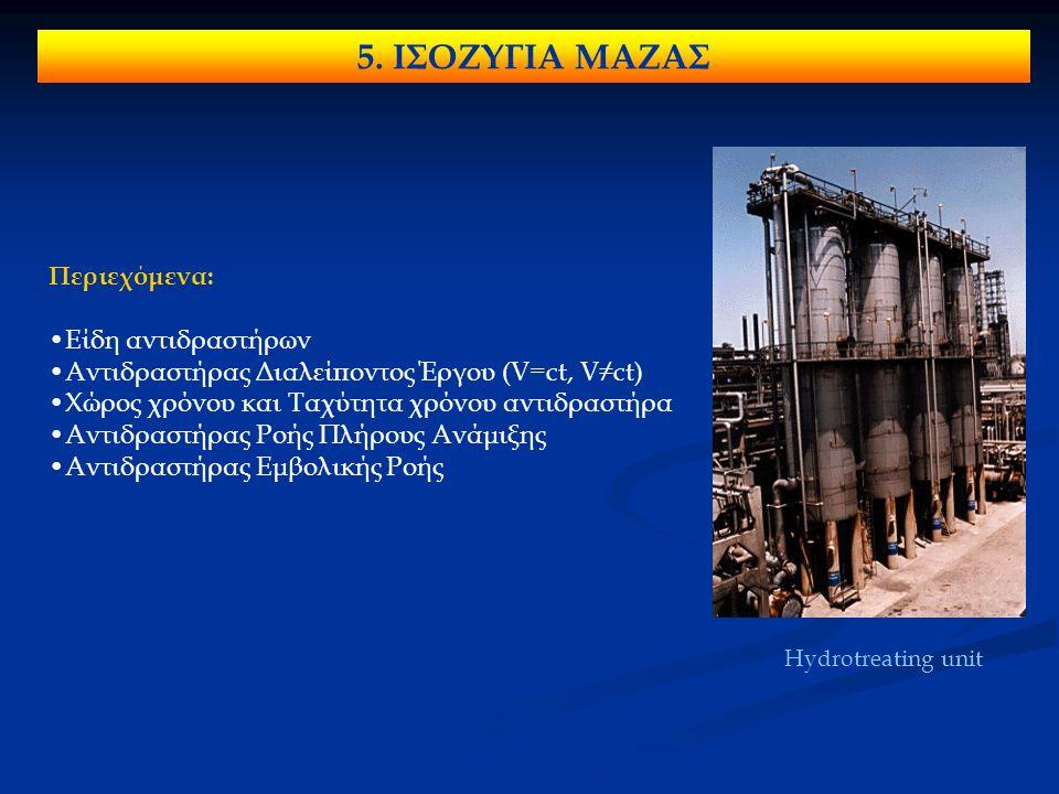 5. ΙΣΟΖΥΓΙΑ ΜΑΖΑΣ Περιεχόμενα: Είδη αντιδραστήρων