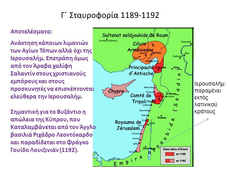 Γ΄ Σταυροφορία 1189-1192 Αποτελέσματα: