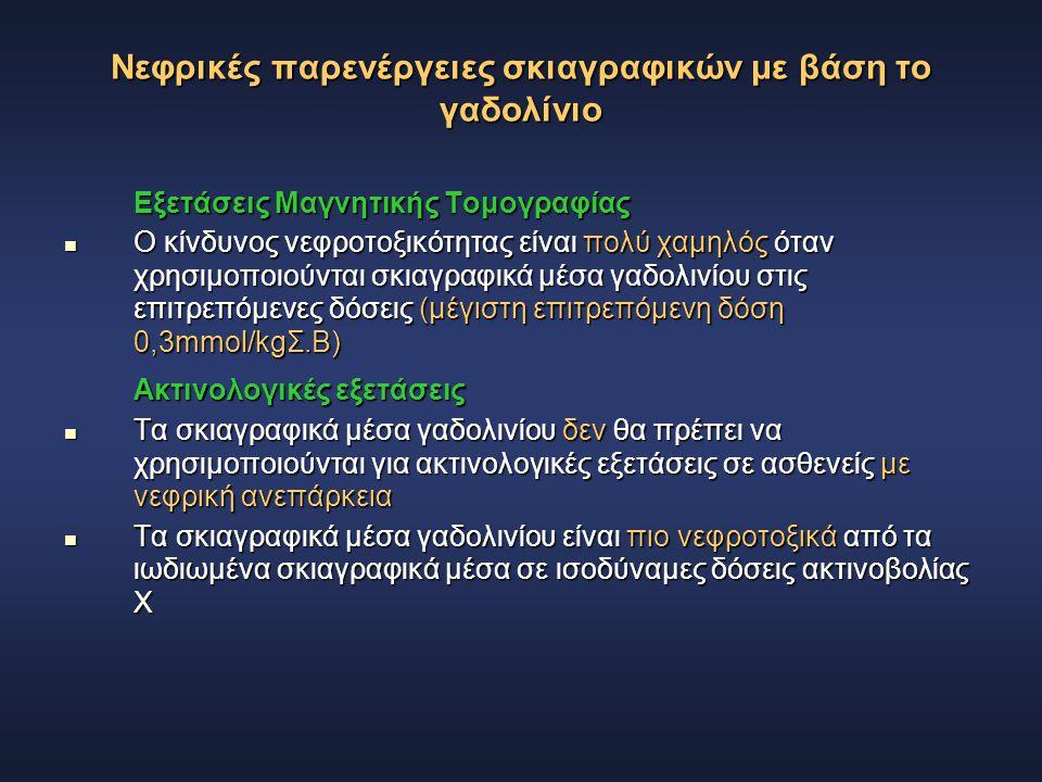 Νεφρικές παρενέργειες σκιαγραφικών με βάση το γαδολίνιο