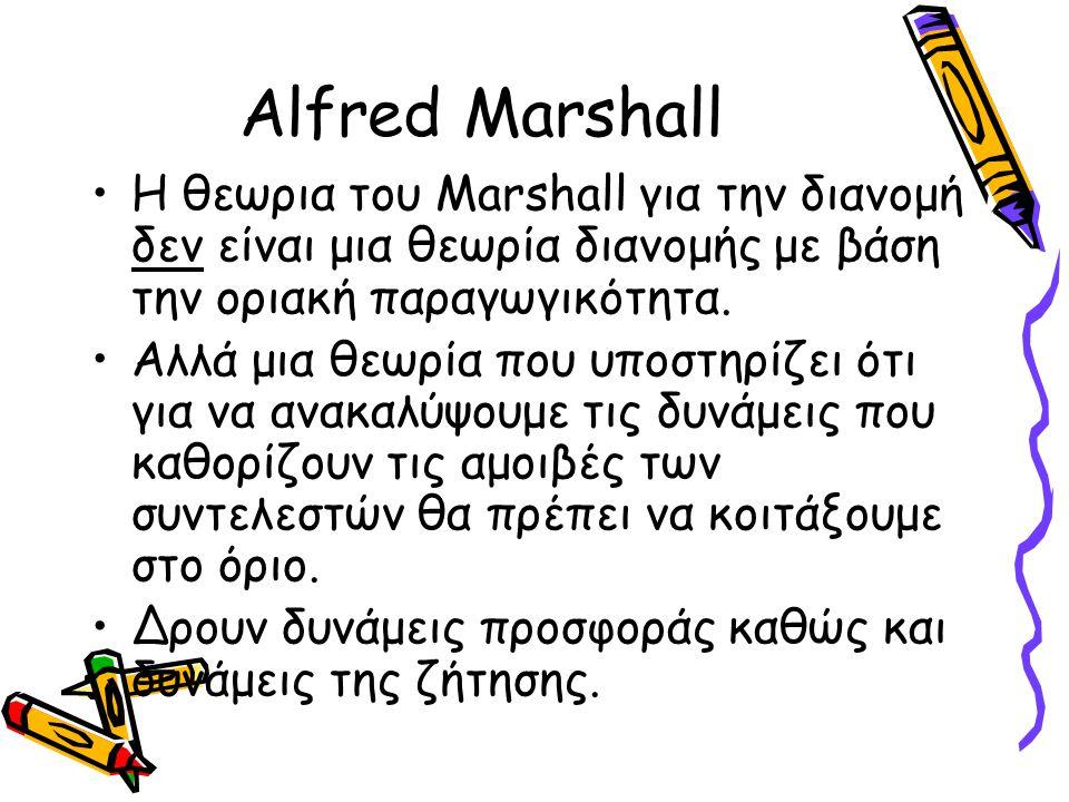 Alfred Marshall Η θεωρια του Marshall για την διανομή δεν είναι μια θεωρία διανομής με βάση την οριακή παραγωγικότητα.