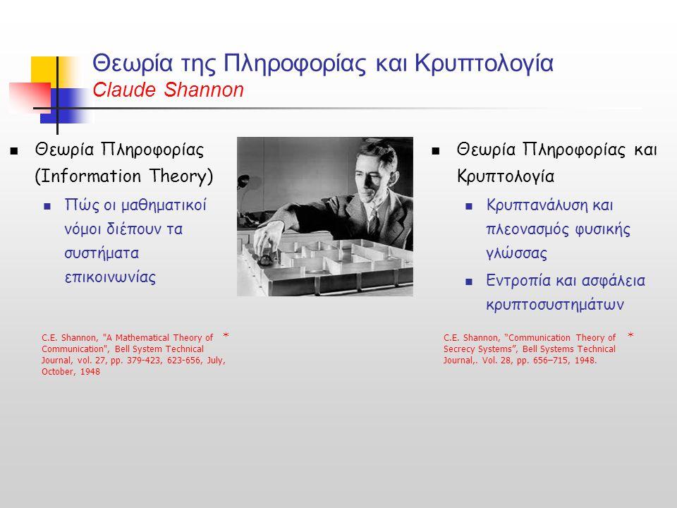 Θεωρία της Πληροφορίας και Κρυπτολογία Claude Shannon