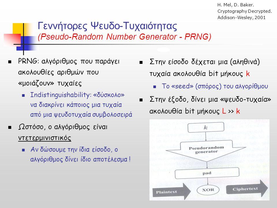 Γεννήτορες Ψευδο-Τυχαιότητας (Pseudo-Random Number Generator - PRNG)