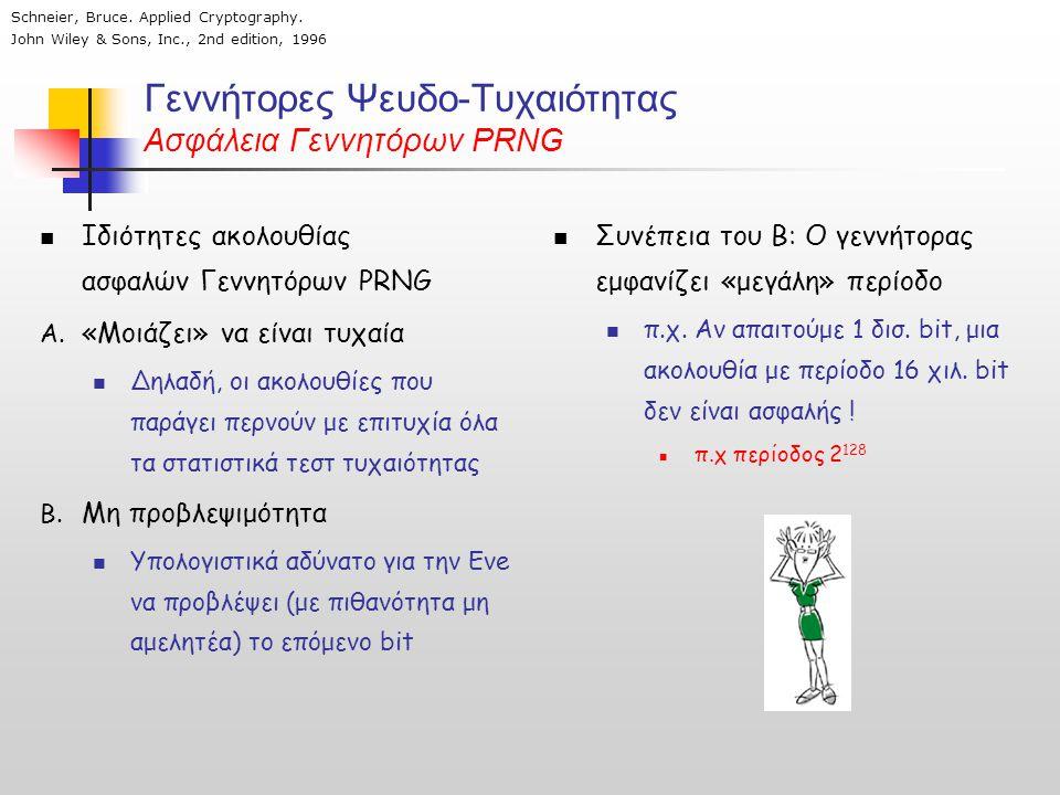 Γεννήτορες Ψευδο-Τυχαιότητας Ασφάλεια Γεννητόρων PRNG