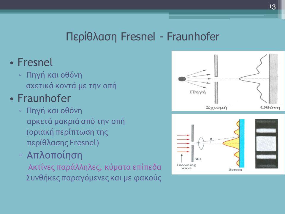 Περίθλαση Fresnel - Fraunhofer