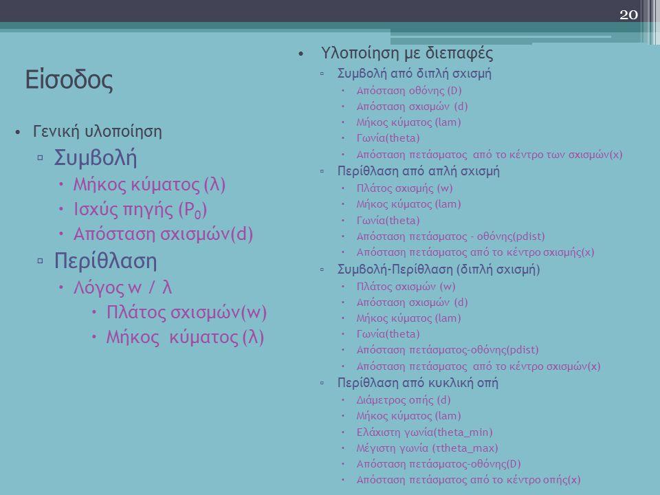 Είσοδος Συμβολή Περίθλαση Μήκος κύματος (λ) Ισχύς πηγής (P0)