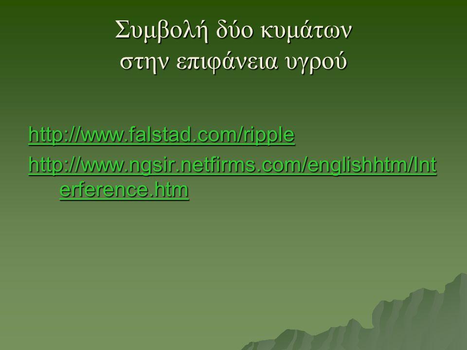 Συμβολή δύο κυμάτων στην επιφάνεια υγρού