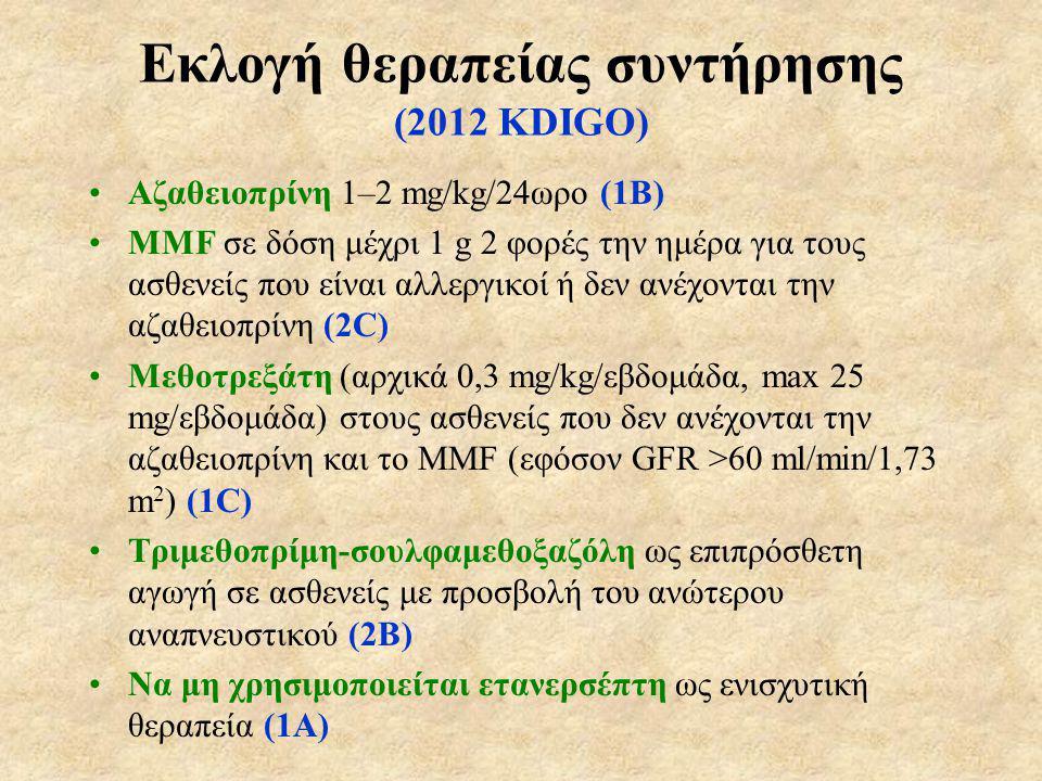Εκλογή θεραπείας συντήρησης (2012 KDIGO)