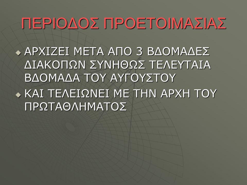 ΠΕΡΙΟΔΟΣ ΠΡΟΕΤΟΙΜΑΣΙΑΣ