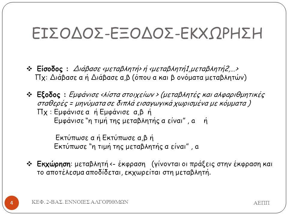 ΕΙΣΟΔΟΣ-ΕΞΟΔΟΣ-ΕΚΧΩΡΗΣΗ