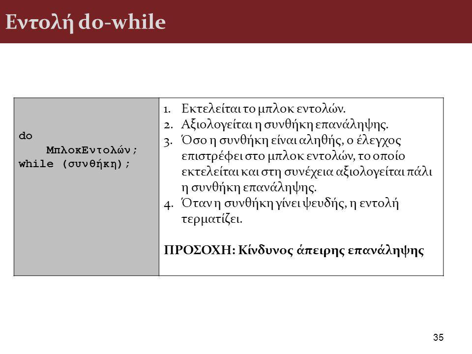 Εντολή do-while Εκτελείται το μπλοκ εντολών.