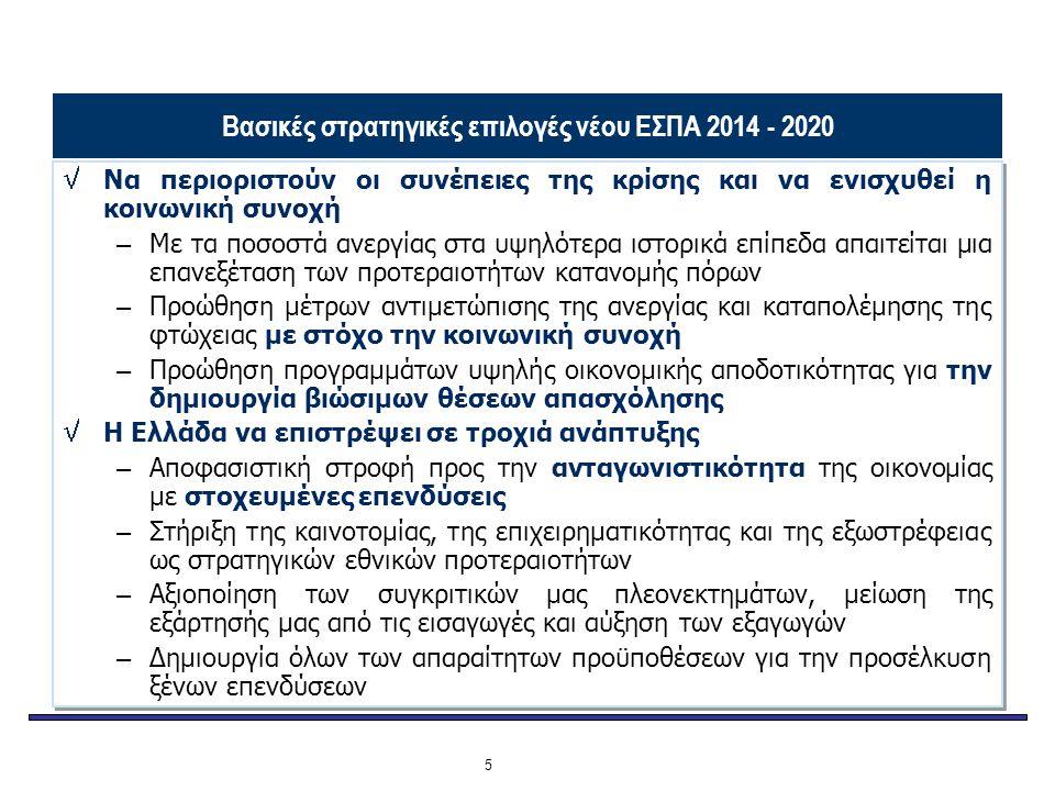 Βασικές στρατηγικές επιλογές νέου ΕΣΠΑ 2014 - 2020