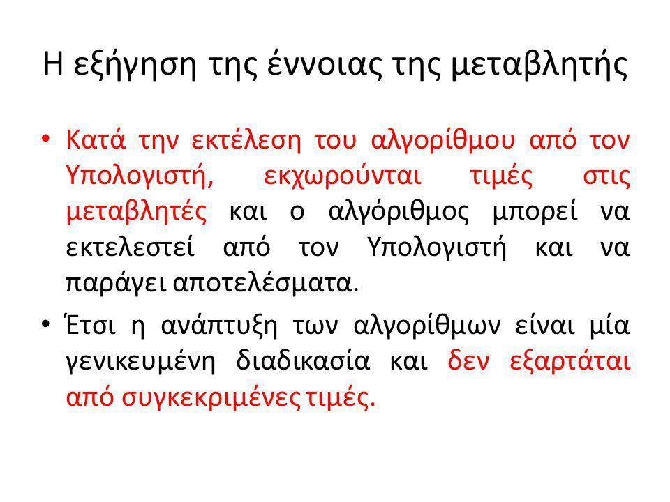 Η εξήγηση της έννοιας της μεταβλητής