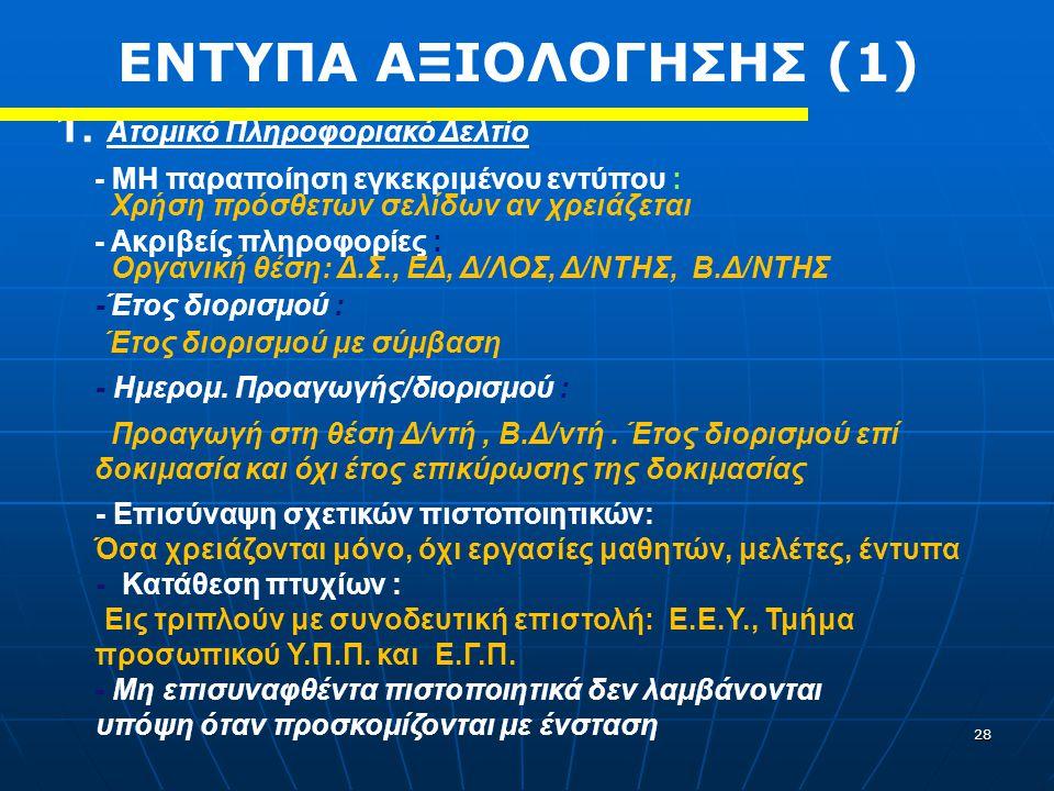 ΕΝΤΥΠΑ ΑΞΙΟΛΟΓΗΣΗΣ (1) 1. Ατομικό Πληροφοριακό Δελτίο