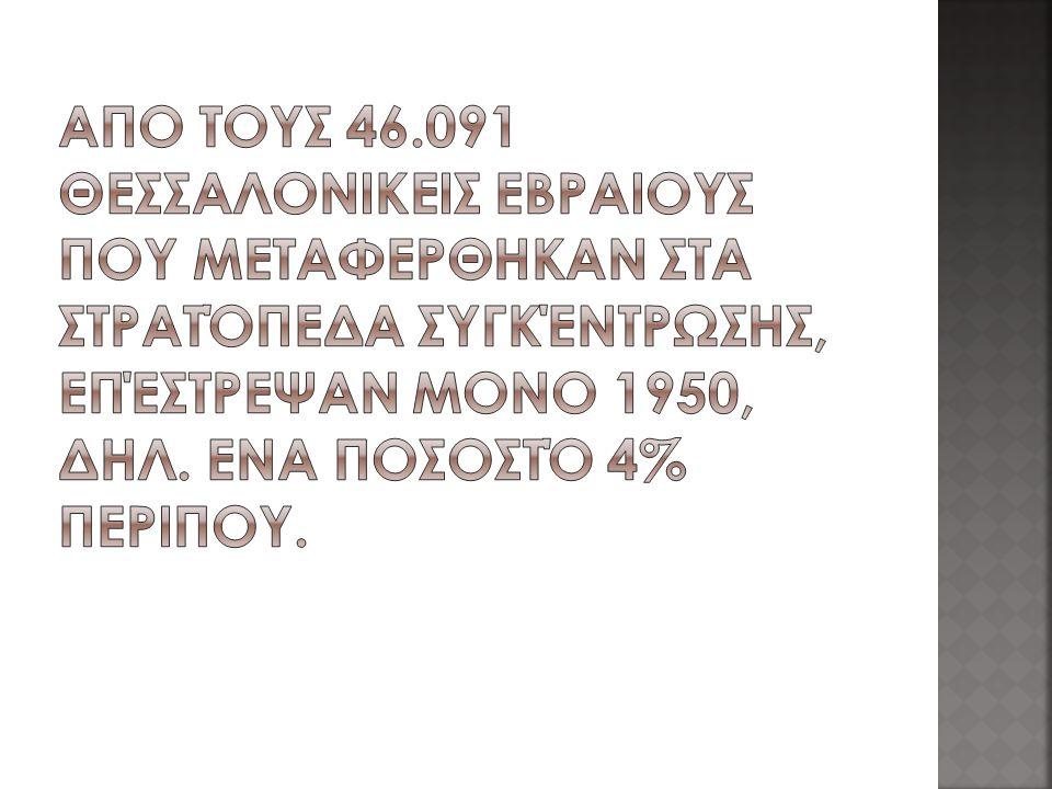 ΑπΟ τους 46.091 θεσσαλονικεΙς ΕβραΙους που μεταφΕρθηκαν στα στρατόπεδα συγκέντρωσης, επέστρεψαν μΟνο 1950, δηλ.