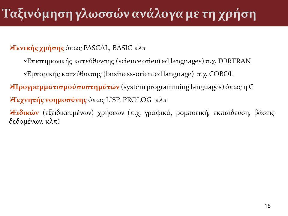 Ταξινόμηση γλωσσών ανάλογα με τη χρήση