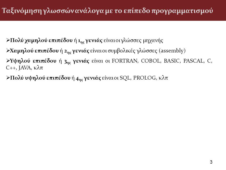 Ταξινόμηση γλωσσών ανάλογα με το επίπεδο προγραμματισμού