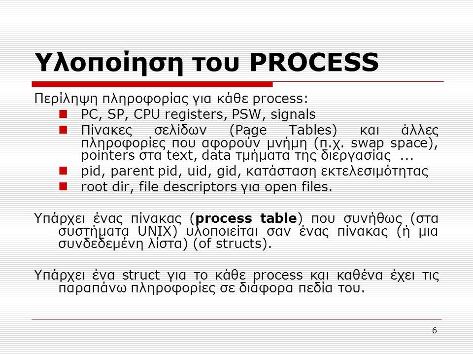 Υλοποίηση του PROCESS Περίληψη πληροφορίας για κάθε process: