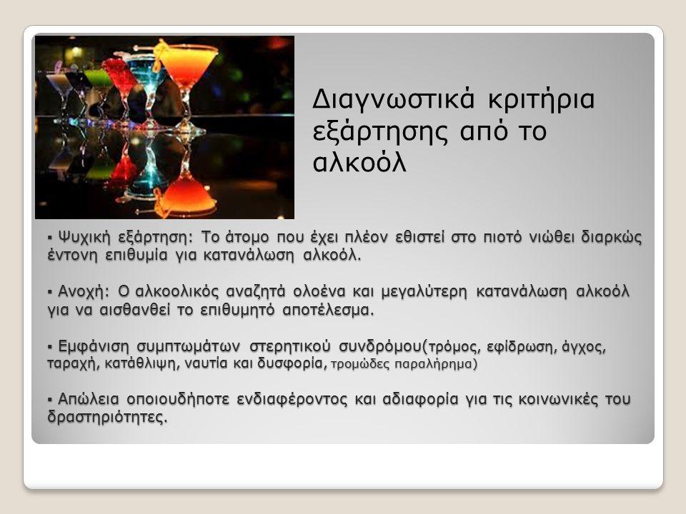 Διαγνωστικά κριτήρια εξάρτησης από το αλκοόλ