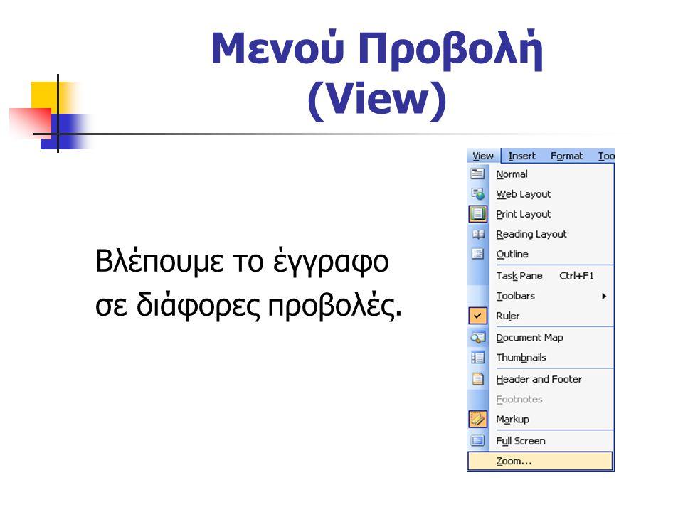 Μενού Προβολή (View) Βλέπουμε το έγγραφο σε διάφορες προβολές.