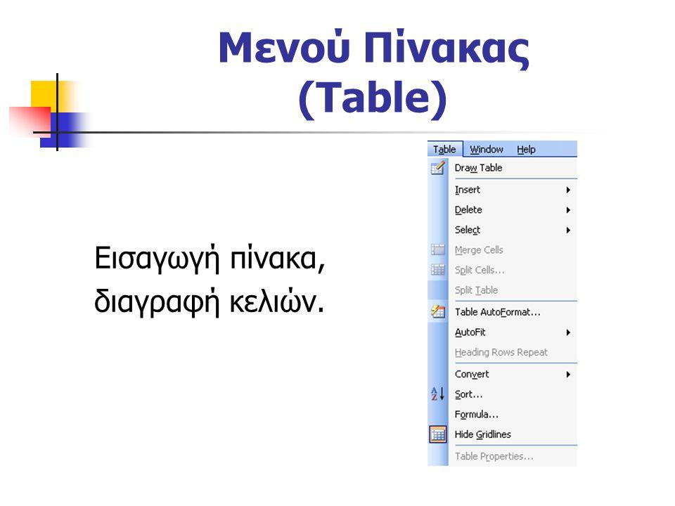 Μενού Πίνακας (Table) Εισαγωγή πίνακα, διαγραφή κελιών.