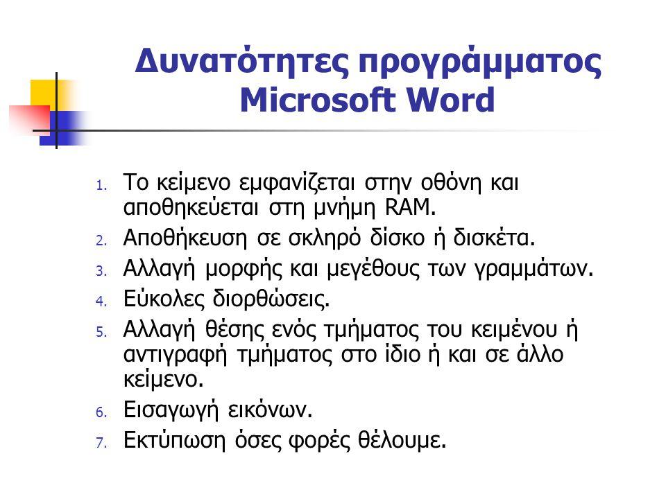 Δυνατότητες προγράμματος Microsoft Word