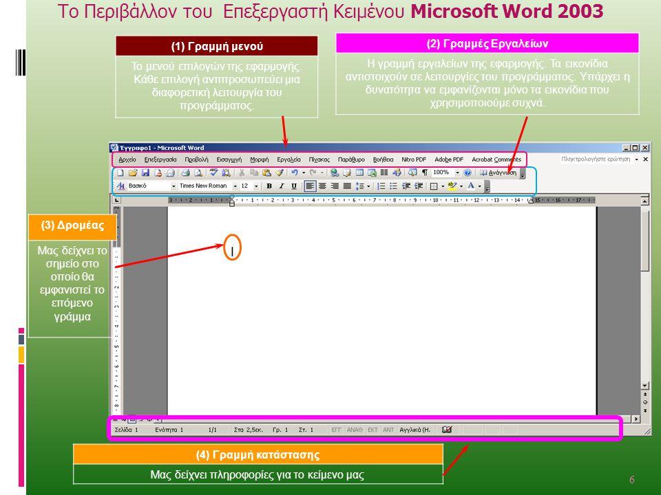 Το Περιβάλλον του Επεξεργαστή Κειμένου Microsoft Word 2003